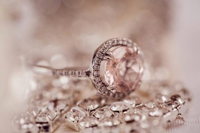 diamond ring on diamond necklace